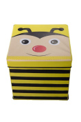 Kid's Cushion Top Bee Collapsible Toy Storage Organiser by Clever Creations   Toy Box Folding Storage Ottoman for Kids Bedroom   Perfect Size Toy Chest for Organising Books, Toys, Kid Clothes