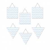 Wall Hanging Geometric Shapes - 3 squares, 3 triangles - Chevron Blue