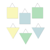 Wall Hanging Geometric Shapes - 3 squares, 3 triangles, Boys Pastel - Light Blue, Mint, Yellow