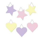 Wall Hanging Geometric Shapes - 3 hearts, 3 stars, Girls Pastel - Pink, Lavender, Yellow