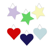 Wall Hanging Geometric Shapes - 3 hearts, 3 stars, Primary - Red, Apple Green, Blue, Yellow, Lavender, Navy