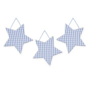 Wall Hanging Geometric Shapes - 3 stars, Light Blue Gingham