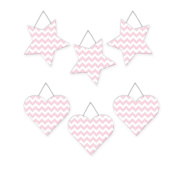 Wall Hanging Geometric Shapes - 3 hearts, 3 stars - Chevron Pink