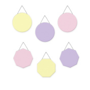 Wall Hanging Geometric Shapes - 3 circles, 3 octagons, Girls Pastel - Pink, Lavender, Yellow