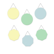 Wall Hanging Geometric Shapes - 3 circles, 3 octagons, Boys Pastel - Light Blue, Mint, Yellow
