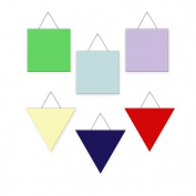 Wall Hanging Geometric Shapes - 3 squares, 3 triangles, Primary - Red, Apple Green, Blue, Yellow, Lavender, Navy