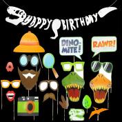 Dinosaur Dino Birthday Party Decoration Supplies,Happy Birthday Banner(Fossil Jurrasic T-REX Garland),Dinosaur Photobooth Props