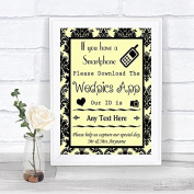 Yellow Damask Wedpics App Photos Personalised Wedding Sign