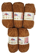 5 x 100 g Himalayan Dolphin Baby Wool Knitting Wool Yarn Knitting Wool 500 g super Bulky, brown, 35_x_25 CM