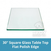 "Square Glass Table Top 80cm Custom Annealed Clear Tempered, ¼"" Thick Glass with Flat Polished Edge & Radius Corner for Dining Table, Coffee Table, Home & Office Use by TroySys"