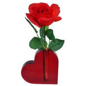 Lucite Heart Shaped Bud Vase - For Desktop, Shelf, Table - Red, Valentine Gift, Love Present, Small Heart Gift.