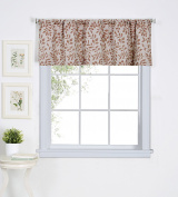 Elrene Home Fashions 026865775617 Leaf Jacquard Linen Rod Pocket Kitchen/Cafe Valance Window Curtain, 150cm x 38cm , Spice