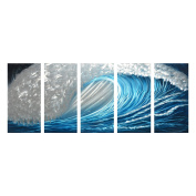 Winpeak Art Blue Ocean Waves Aluminium Metal Wall Art Abstract Modern Contemporary Decor Painting Large Indoor and Outdoor Seascape Nautical Decorative Artwork (160cm W x 60cm H