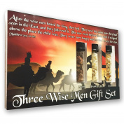 Three Wise Men Biblical Gift Set - Real 24k Gold, Pure Frankincense, & Pure Myrrh in Glass Vials, Biblical Christian Nativity Gift