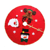 Tinksky Christmas Tree Skirt with Snowman Santa Claus Elk Pattern Christmas Tree Ornaments Decoration Xmas Tree Cover Home Party Decor Christmas Gift
