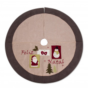 SANNO 120cm Christmas Tree Skirt Burlap, Flaxen Jasper Lint Ornaments Decorations Including Santa Claus and Snowman Plane Patterns