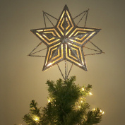 Valery Madelyn 28cm Pre-Lit Elegant Champagne Gold Christmas Tree Topper, Metal Tree Top Star with 10 Warm LED Lights, Battery Operated, Themed with Christmas Ornaments