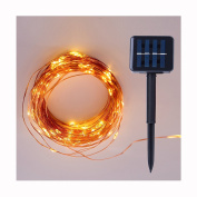 10m 100 LEDs Solar Powered String Lights, Super Bright Copper Wire Lights for Indoor/Outdoor Decor, Wedding, Homes, Christmas Party, Warm White