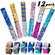Pawliss 12 Pack Little Mermaid Magic Reversible Sequin Slap Bracelets, Birthday Party Favours Supplies Gifts for Girls Kids, Pink Blue Purple