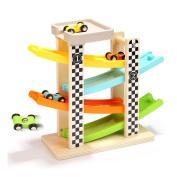 Children Boy Wooden Ladder Gliding Car Wooden Slot Track Car Toys Educational Model To Slide Toy