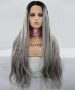 ATAYOU® Long Straight Lace Front Wigs - Fashionalble Dark Roots to Grey Ombre Wigs For Women with 1 Free Cap