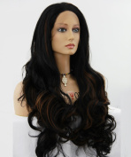 ATAYOU® New Design Long Curly Lace Front Wigs - Black Mixed with Brown Synthetic Wigs for Women 60cm With 1 Free Wig Cap