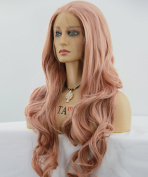ATAYOU® Long Wavy Lace Front Wigs - European Fashinalble Pink Wigs - Heat Resistant Synthetic Lace Front Wigs for Women With 1 Free Wig Cap