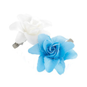 GIZZY® Girls Two Piece Blue and White Flowers Beak Style Hair Clip Set