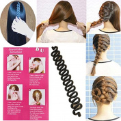 Leisial Hair Braiding Tool Magic DIY Hair Twist Styling French Hair Braiding Tool Hair Braider Twist Roller Magic Wonder Holder Clip for Ladies Girls Fashion Hair Twist Tool Styling Bun Maker