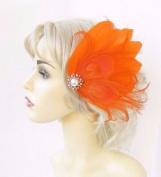 Orange Cream Gold Feather Fascinator Hair Clip Races Headpiece Vtg 1920s 4634