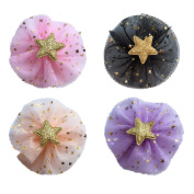 4xToruiwa Hair Clip Lovely Handmade Flower Star Hairclip Hairpin Hair Styling Clips Headwear Headdress Hair Accessories for Children Multicolor