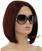 ATAYOU® Dark Brown Lace Front Wigs- Fashionale and Heat Resistant Short Straight Bob Wigs,Hight Quality Wigs + 1 Free Wig Cap