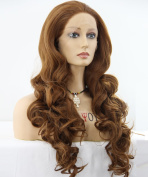 ATAYOU® New Design Long Curly Dark Brown Lace Front Wigs for Women + 1 Free Wigs Cap