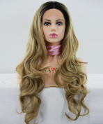 ATAYOU® Blonde Ombre Lace Front Wigs - Long Curly Wigs with Dark Roots, Heat Resistant Synthetic Wigs with 1 Free Wigs Cap