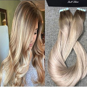 Full Shine 41cm Tape in Extensions for Short Hair Balayage Colour #5 Fading to #18 and #24 Blonde Highlighed Extensions