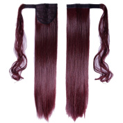 60cm Ponytail Clip in Extensions Straight Hairpiece Wrap Around Long Soft for Women Lady Beauty, Plum Red