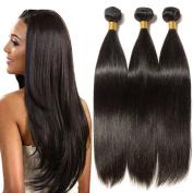 25cm - 60cm Brazilian Virgin Human Hair Weave Bundles Remy Hair Extensions Weft Grade 7A - Straight - #1B Natural Black