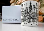 San Francisco Skyline Ceramic Coffee Mug with unique artwork of Adam Palmeter featuring GOLDEN GATE BRIDGE - TROLLEY -TRANSAMERICA PYRAMID - FERRY BUILDING - COIT TOWER - PAINTED LADIES