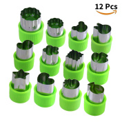 Joyoldelf 12 Pcs Vegetable Cutters Set, Stainless Steel Fruit Cutter Mini Flower Star Animals Fruit Shaped Mould with Anti-Slip Protection Handle for Safely Customising Cute Cutouts
