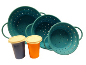 Agora Silicone Collapsible Blue Colanders Strainer (Size L+ M + S) Set and FOC Tupperware Bell Tumbler x2