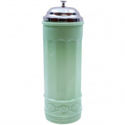 Jadite Straw Holder - Green Retro Handmade Glass Dispenser w/ Chrome Lids
