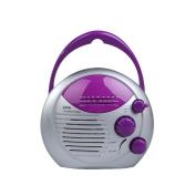 Purple Silver AM FM Shower Radio Bathroom Waterproof Hanging Music Radio