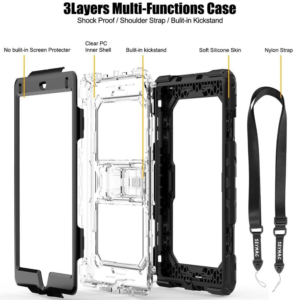 white-clear-iPad-Case-25cm-2017-SAYMAC-Three-Layer-Heavy-Duty-Soft
