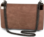 styleBreaker Clutch Evening Bag with Metal Snap Clips and Link Chain, Vintage Design for women 02012046
