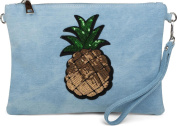 styleBREAKER jeans clutch with glittery sequins pineapple, shoulder strap and hand strap, bag, ladies 02012176, colour:Light Blue