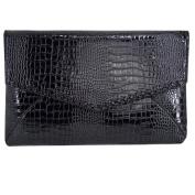 AiSi Ladies Fashion Snake Skin Clutch Bag Elegant Evening Envelope bag Party Handbag, Black