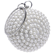 Santimon Clutches For Womens Pearls Beads Rhinestones Hard Case Round Shape Handbag With Strap