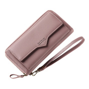 Wallets Women Leather Long, Aeeque Large Capacity Multifunction Lady Clutch Purses Pouch Zipper Passport Driving Licence Card Coin Money Bag Phone Wallet Case for Samsung iPhone Huawei - Deep Pink