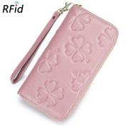 Badiya Women Genuine Leather Clutch Wallets Clover Long Zipper Purses Card Holder for Women Gifts