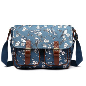 Miss Lulu Messenger Bag School Satchel Bookbag Oilcloth Bird Flower Cross-body Bags Handbag